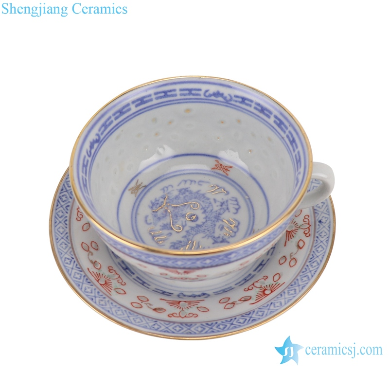 RZPV09 Blue and white old exquisite gold dragon print ceramic coffee cup and saucer set