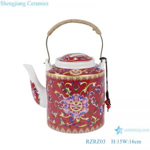 RZRZ03 Enamel color red peony peony pattern teapot large