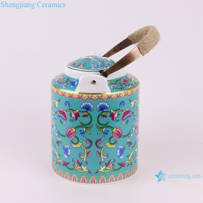 RZRZ04 Enamel color green peony peony pattern teapot large