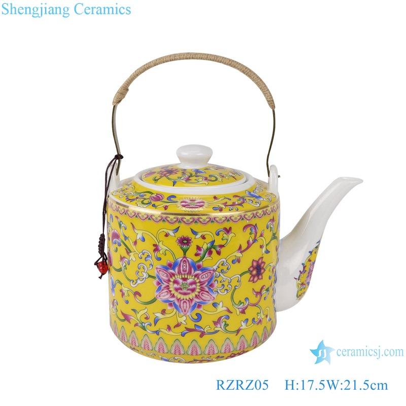 RZRZ05 Enamel color yellow peony peony pattern teapot large