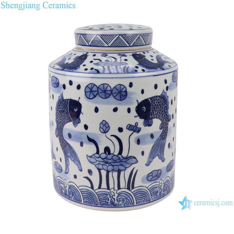 RZSI07 Blue and white fish algaea grain lotus tea pot storage pot