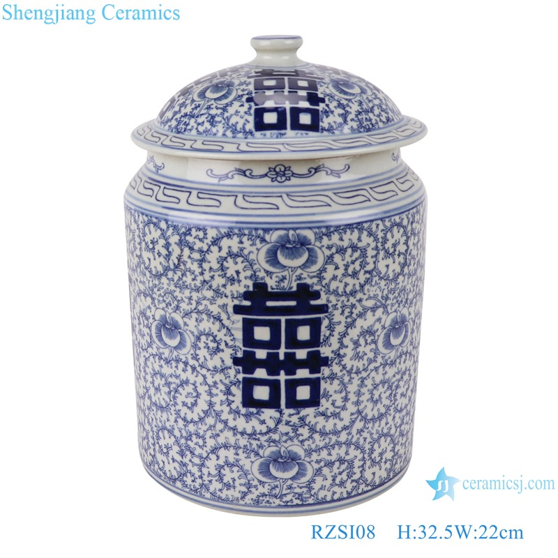 RZSI08 Blue and white twining branches happy word grain cover pot storage pot tea pot