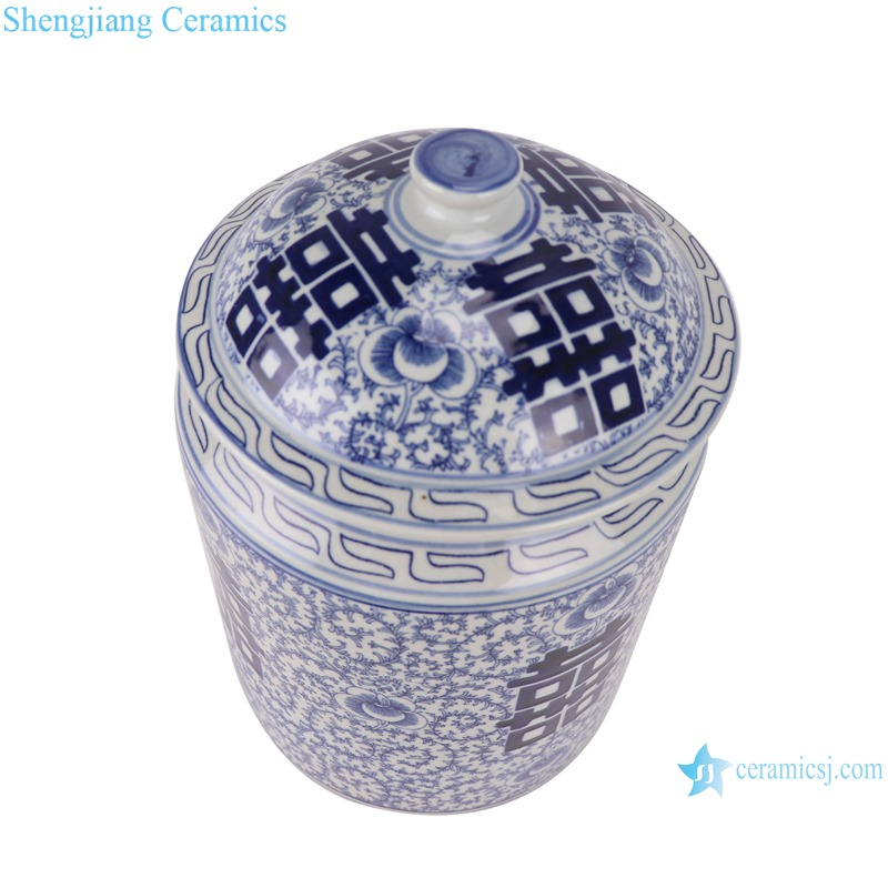 RZSI08 Blue and white twining branches happy word grain cover pot