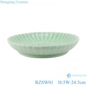 RZSW01 Pea green porcelain plate with trimmed edges