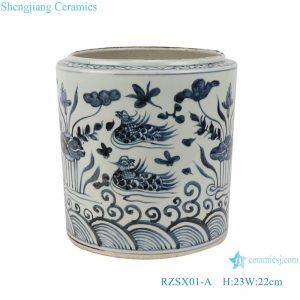 RZSX01-A Blue and white lotus mandarin duck playing water pattern pen holder