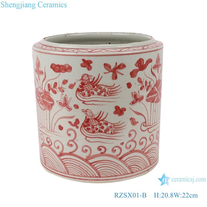 RZSX01-B Alum red lotus mandarin duck playing water pattern ceramic pen holder