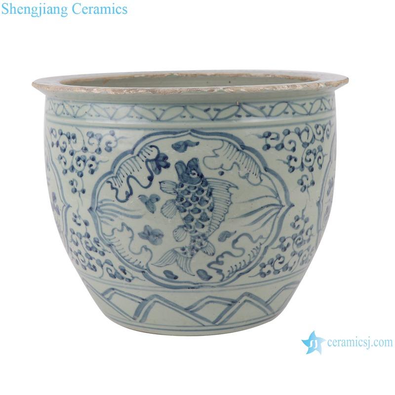 RZSX02 Blue and white twig lotus lotus mandarin duck playing water grain small pot