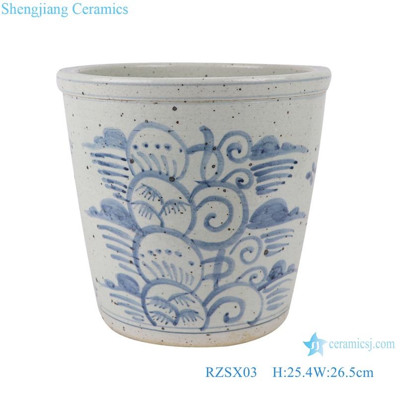 RZSX03 Blue and white freehand flower ceramic pot small VAT