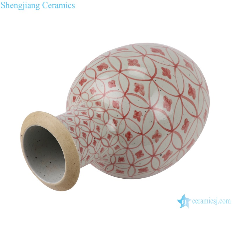 RZSX04-A Alum red copper money design pattern stick vase