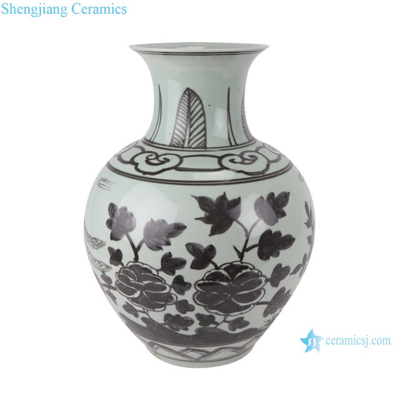 RZSX05 Antique blue and white flower golden pheasant pattern fish tail vase with big belly
