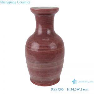 RZSX06 Handmade red glaze low fishtail ceramic vase