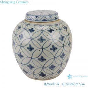 RZSX07-A Blue and white copper money grain tea jar ceramic storage jar