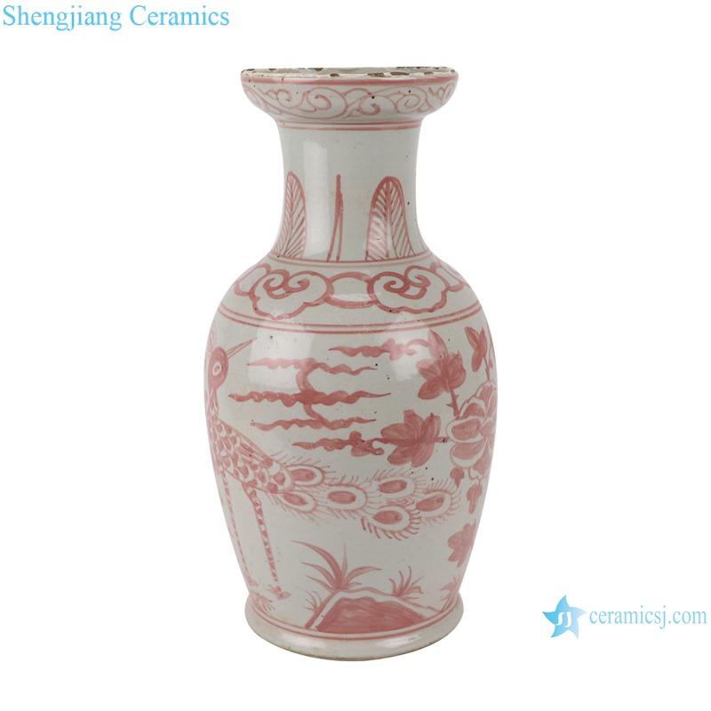 RZSX08-A Antique alum red flower and bird short fishtail ceramic vase