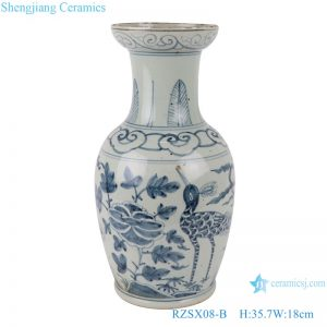 RZSX08-B Antique blue and white flower and bird short fishtail ceramic vase