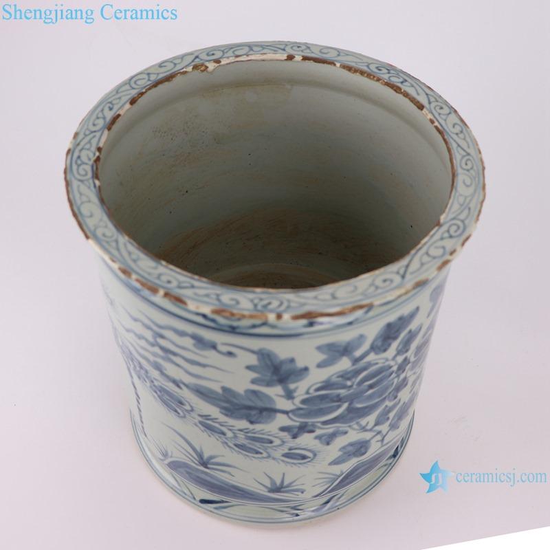 RZSX09-A Antique blue and white flower and bird pen holder ceramic censer