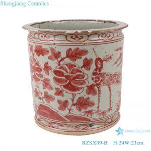 RZSX09-B Antique alum red flower and bird ceramic pen holder incense burner