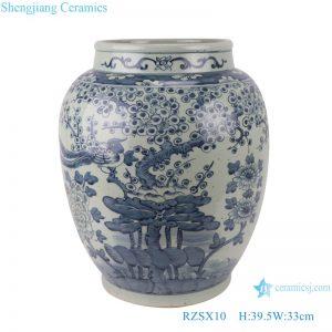 RZSX10 Antique blue and white flower and bird storage pot ceramic vase