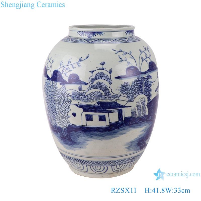 RZSX11 Antique blue and white landscape vase storage pot