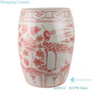 RZSX12 Archaize alum red flower bird drum stool cool pier
