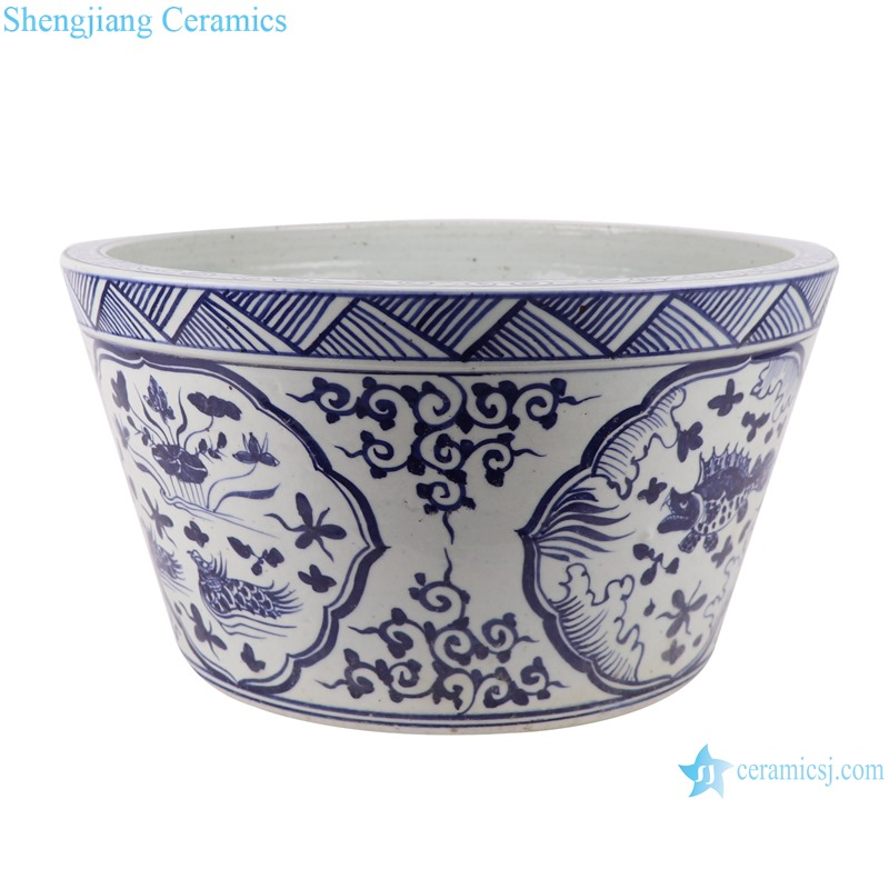RZSX14 Blue and white fish algae-grain flower pot small pot
