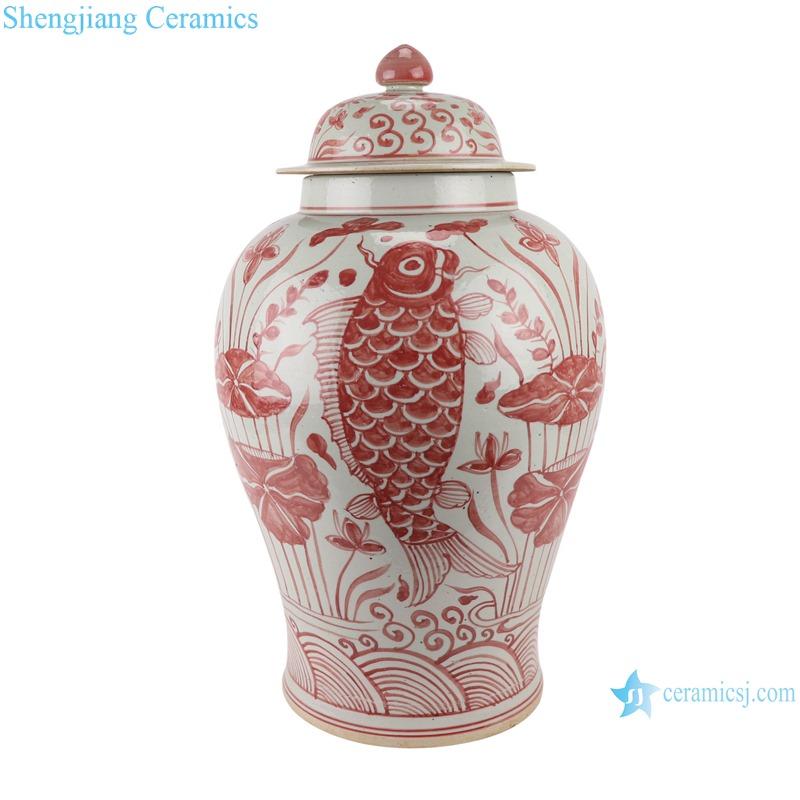 RZSX15 Alum red fish algae lotus pattern ginger jar