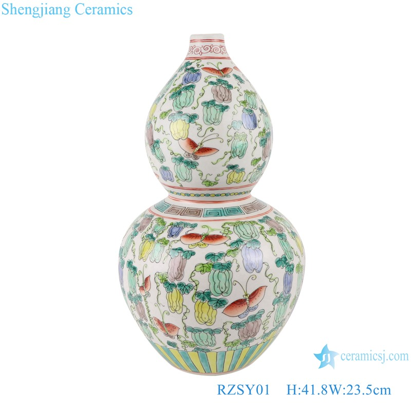 RZSY01 Colorful pumpkin and butterfly pattern gourd vase