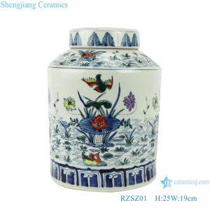 RZSZ01 Blue and white bucket color red lotus mandarin duck playing water flower & bird tea tank storage tank
