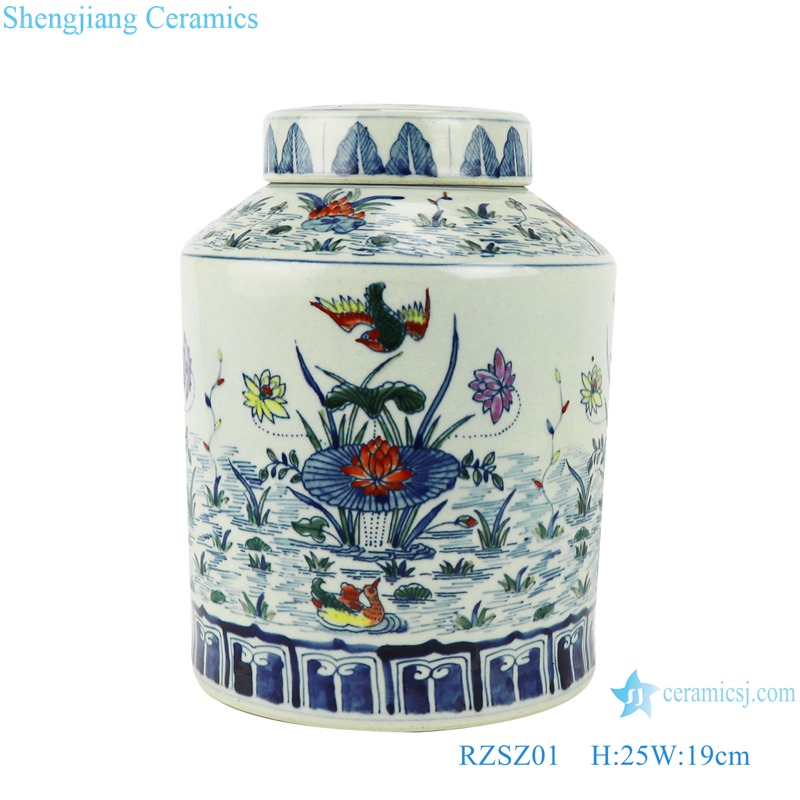 Blue and white bucket color red lotus mandarin duck playing water flower & bird tea tank storage tank