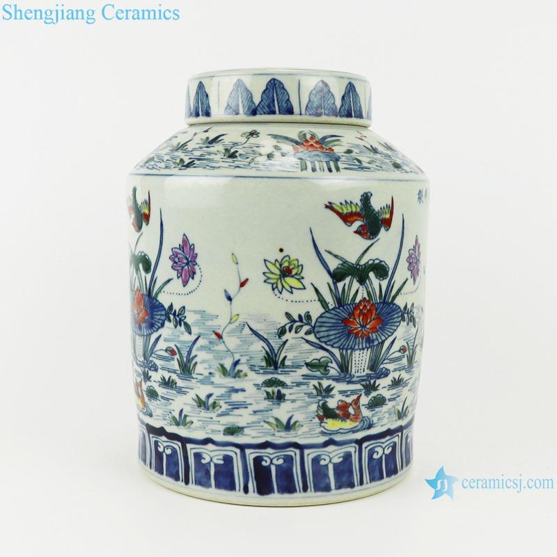 bucket color red lotus mandarin duck playing water flower & bird tea tank storage tank