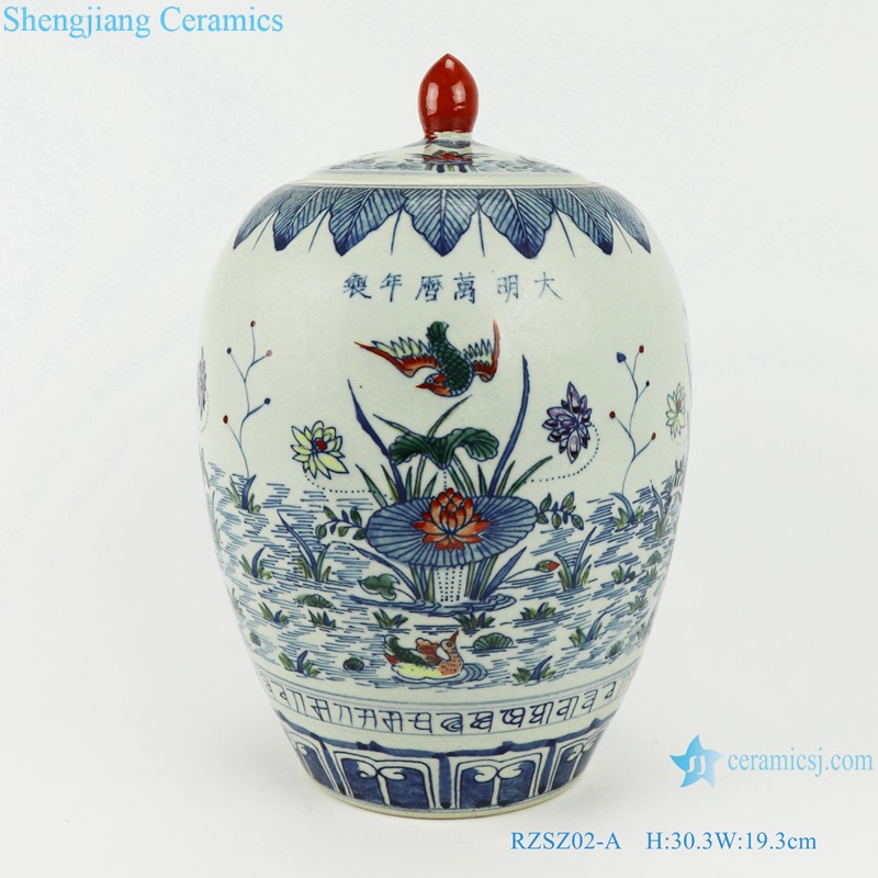 Blue and white bucket color lotus mandarin duck playing water flowers birds wax gourd pot storage tank
