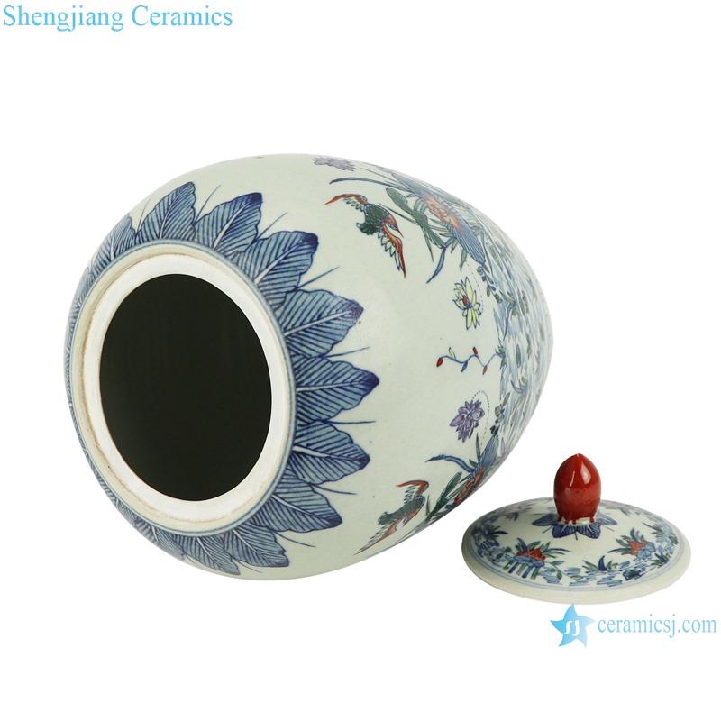 bucket color lotus mandarin duck playing water flowers birds wax gourd pot
