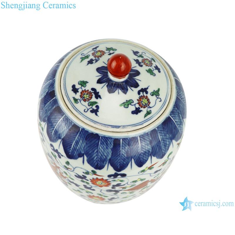 RZSZ02-B blue and white bucket colored glaze dragon - pattern wax gourd pot