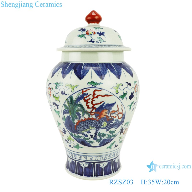 RZSZ03 Blue and white fighting glaze in the red wrapped branch kirin general tank