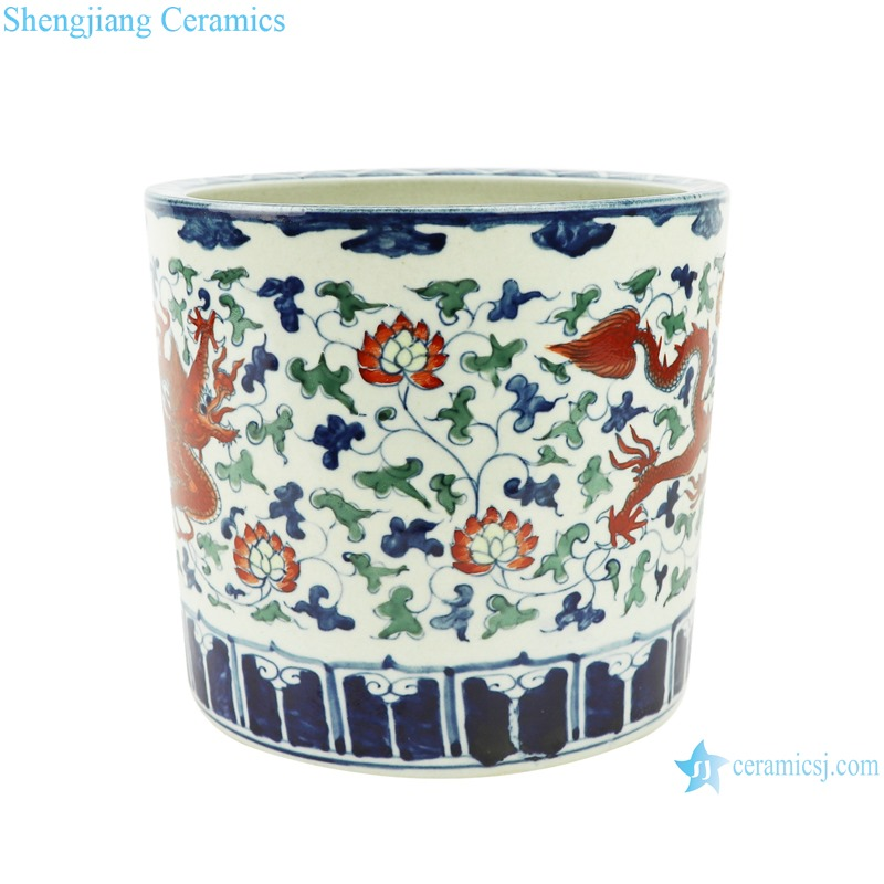 RZSZ04 Blue and white fighting glaze red wrapped branch dragon pattern pen holder
