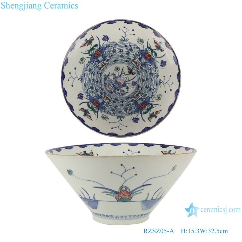Blue and white bucket color lotus mandarin duck playing water flower bird pattern bowl