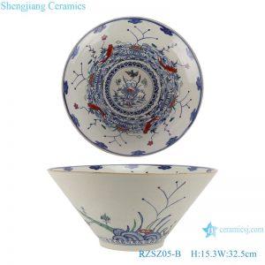 RZSZ05-B Blue and white fighting color mandarin duck playing water eight carp grain bowl