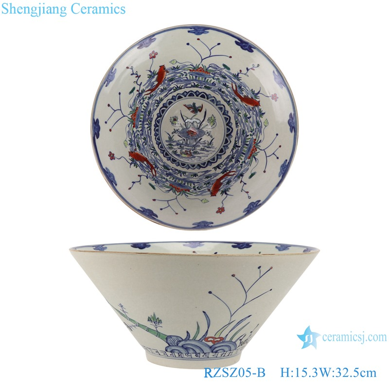 Blue and white fighting color mandarin duck playing water eight carp grain bowl