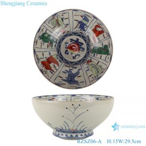 RZSZ06-A Big bowl of eight immortals in blue and white fighting glaze