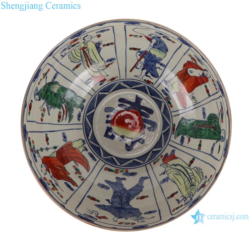 Big bowl of eight immortals in blue and white fighting glaze