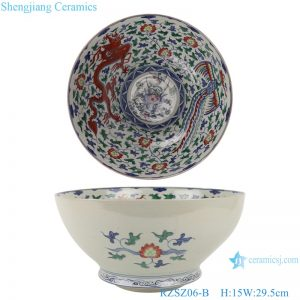 RZSZ06-B Blue and white bucket colored glaze winding branches dragon and phoenix auspicious bowl