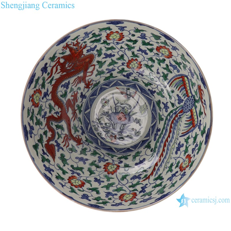 Blue and white bucket colored glaze winding branches dragon and phoenix auspicious bowl