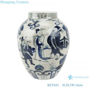 RZTA01 Antique blue and white vase with eight immortals figure