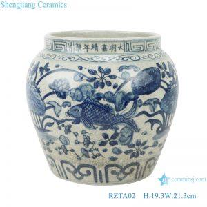 RZTA02 Archaize blue and white lotus fish grass carp algae grain small pot