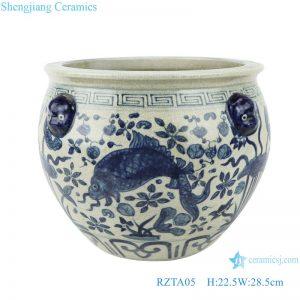 RZTA05 Antique blue and white lotus fish grass carp algae grain lion head ear small pot
