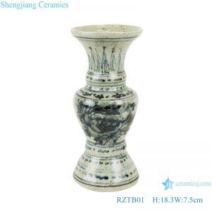 RZTB01 Antique blue and white freehand flower vase