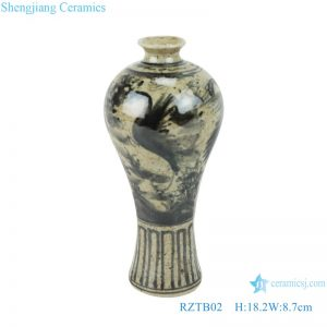 RZTB02 Antique blue and white freehand flower and bird pattern small vase