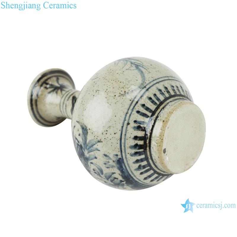 RZTB03 Antique blue and white freehand flower and bird pattern small vase