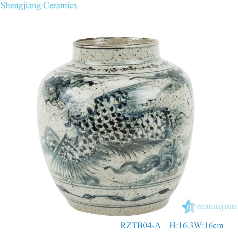RZTB04-A Archaize blue and white freehand style phoenix grain small pot