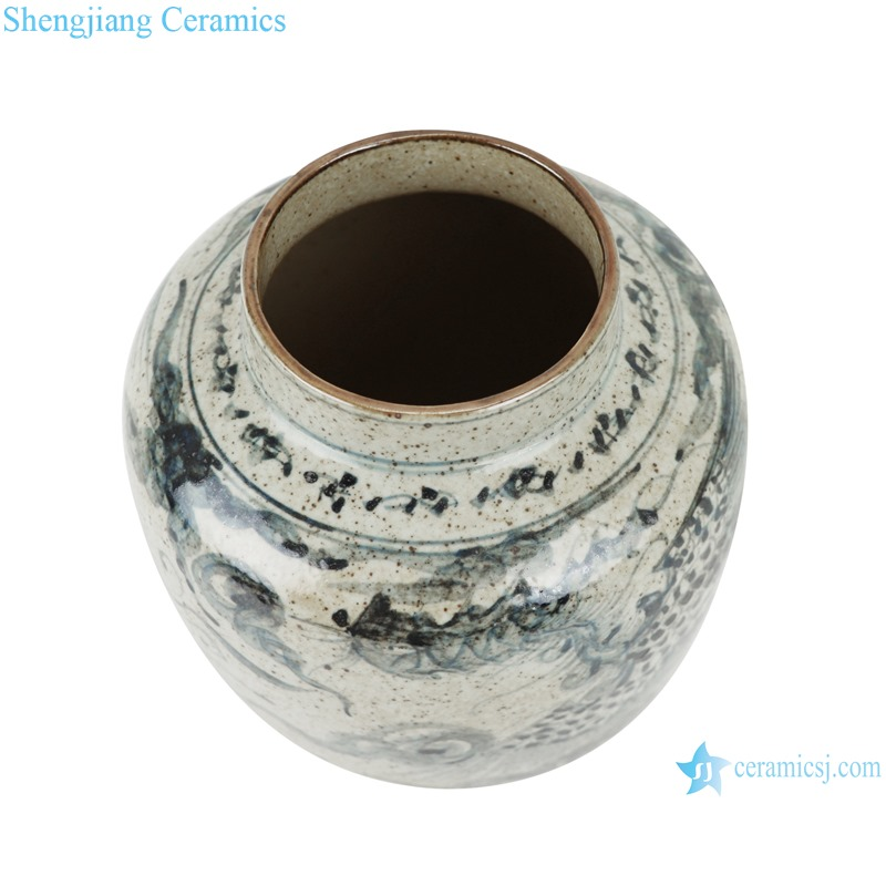 Archaize blue and white freehand style phoenix grain small pot