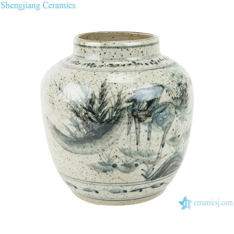 RZTB04-B Archaize blue and white freehand brushwork crane lotus pattern small pot